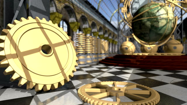 animated mechanical devices in victorian interior. 3d rendering - steampunk fashion stock videos and b-roll footage