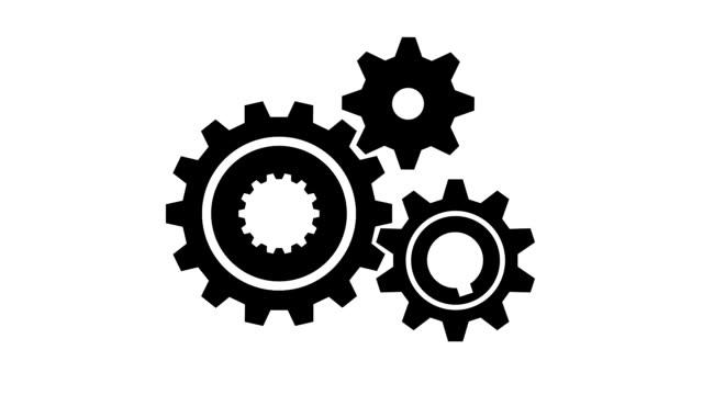 vídeos de stock e filmes b-roll de animated mechanism of 3 rotating gears - dentes
