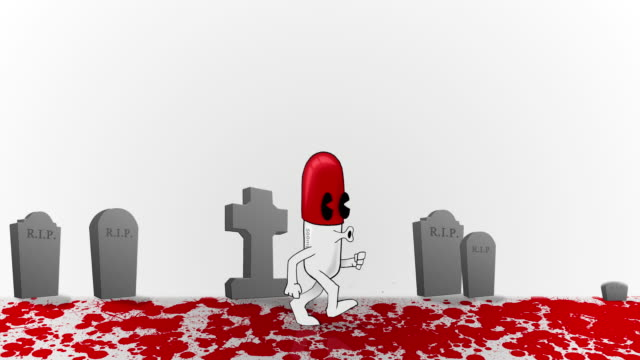 Animated Medical Capsule walking through Blood and Death