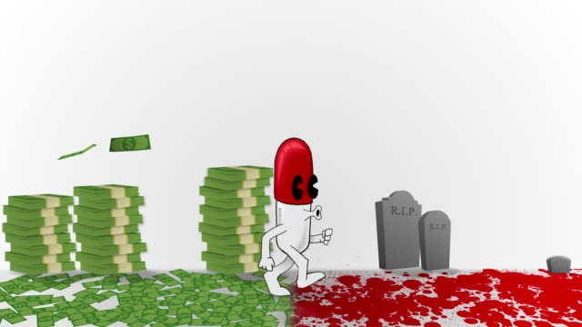 Animated Medical Capsule walking through Blood and Money