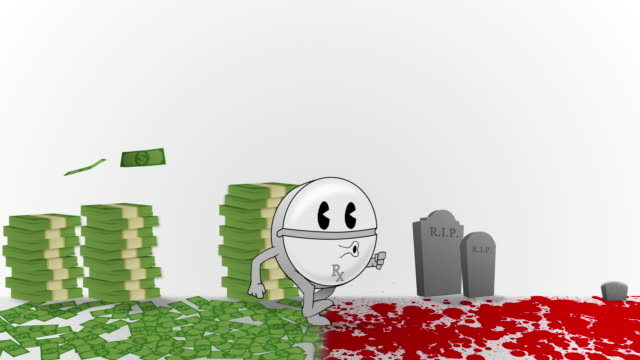 Animated Medicine Pill walking through Blood and Money