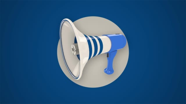 Animated megaphone Animated megaphone on background made of circles. megaphone stock videos & royalty-free footage