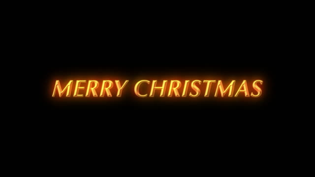 Animated Merry Christmas text on black background with sparkly particles flowing around video