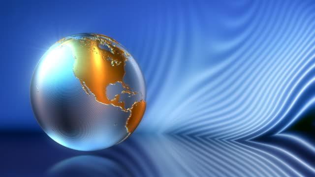 Animierte Metall globe auf blauem Hintergrund hightech-look. HD.-Schleife. – Video