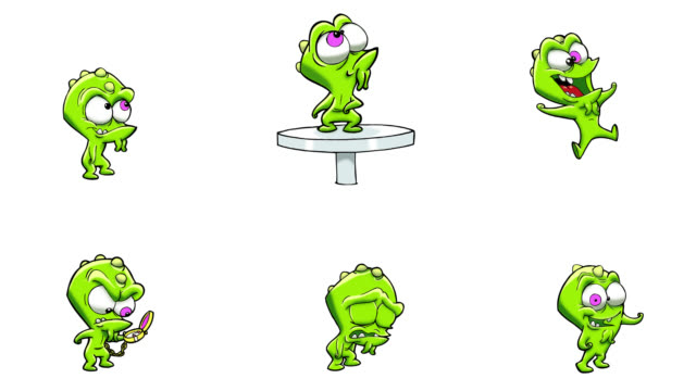 Animated monster actions. 6 in 1. Luma matte. video