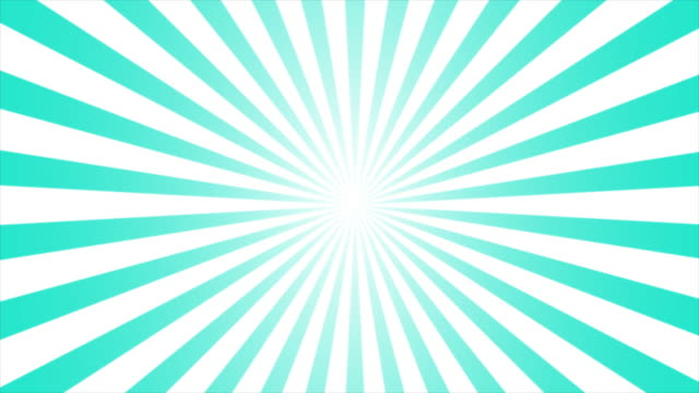 Animated motion graphic of comic lined sunburst, starburst, pinwheel rotating and spinning infinity loop in retro vintage style