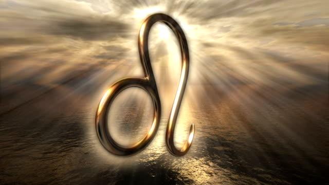 Animated mystic golden zodiac horoscope Leo symbol. 3D rendering video