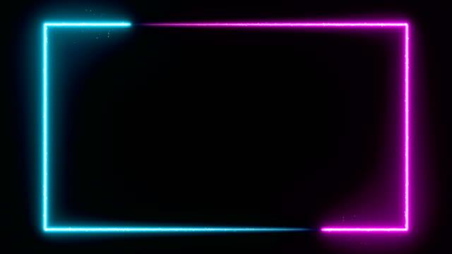 vidéos et rushes de fond lumineux animé de cadre de néon. animation 4k de boucle d'exposition laser - contour