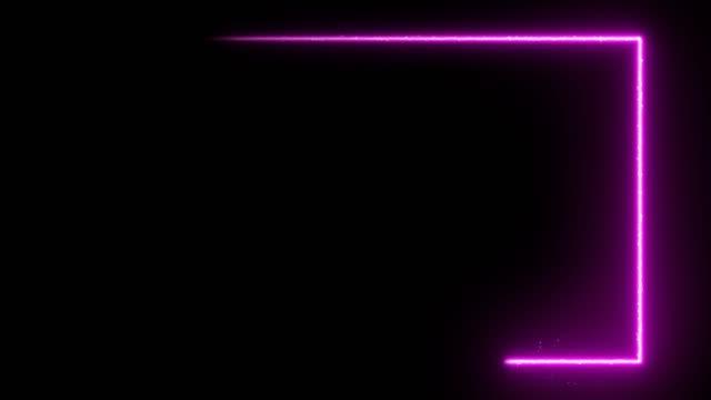 animasyonlu neon parlak çerçeve arka plan. lazer gösterisi döngüsü 4k animasyon - kare i̇ki boyutlu şekil stok videoları ve detay görüntü çekimi