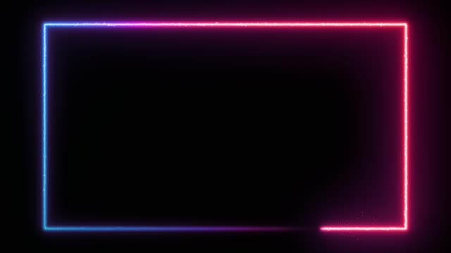 Animated neon glowing frame background. Laser show loop 4K animation Animated neon glowing frame background. Colorful laser show seamless loop 4K border. Futuristic light effect isolated on black. VJ backdrop for club, show, music video, presentation. 3D animation square composition stock videos & royalty-free footage