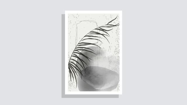 vídeos de stock, filmes e b-roll de pintura animada de ilustrações minimalistas de aquarela. composições minimalistas abstratas da folha, manchas no fundo da luz. gráfico moderno do meio do século. design de arte vegetal. movimento gráfico de 4k - boho
