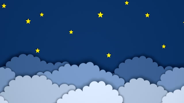 Animated paper backgrounds 4k. Cartoon nature. Night sky background above the clouds with moon and stars. Cartoon paper animation summer illustrations videos stock videos & royalty-free footage