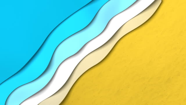Animated paper backgrounds (Loop 4k). Cartoon nature. Paper sea waves on the beach. Cartoon paper animation summer background stock videos & royalty-free footage