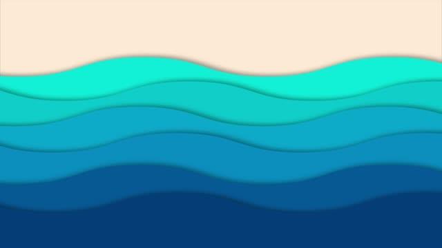 vídeos de stock e filmes b-roll de animated paper backgrounds sea with beach - desenho animado
