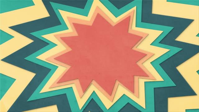 vídeos de stock e filmes b-roll de animated paper cut explosion looping background - animação em stop motion