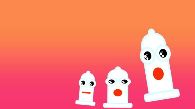 mutlu prezervatif cinsel güvenlik için temsil eden animasyon desen - penis stok videoları ve detay görüntü çekimi