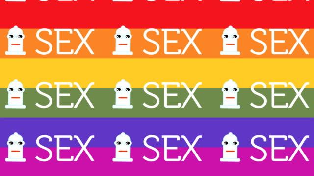 animiertes muster repräsentieren ein glücklich kondom für sexuelle sicherheit mit regenbogen flagge hintergrund - familienplanung stock-videos und b-roll-filmmaterial