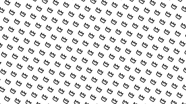 Animated pattern with hand drawn crowns. Animated pattern with hand drawn crowns. royalty stock videos & royalty-free footage