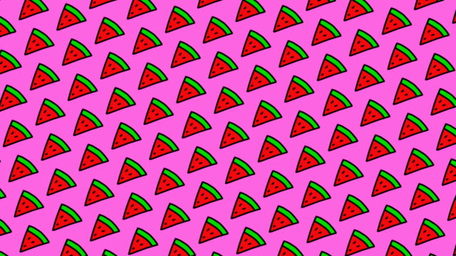 Animated pattern with hand drawn watermelons.
