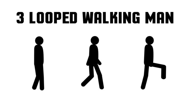 Animated pictogram man walking video