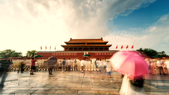 Animated picture with cinemagraph effect of People who open an umbrella in front of Tiananmen Gate, Gate of Heavenly Peace, Beijing, China video