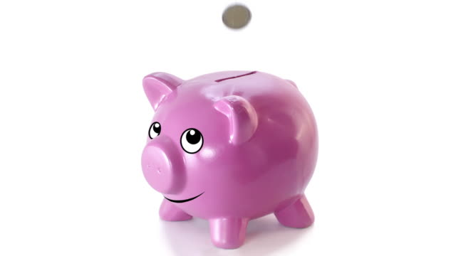 Animated piggy bank Coins falling down into a happy piggy bank. Recorded by the camera RED. Color correction professionally done. piggy bank stock videos & royalty-free footage