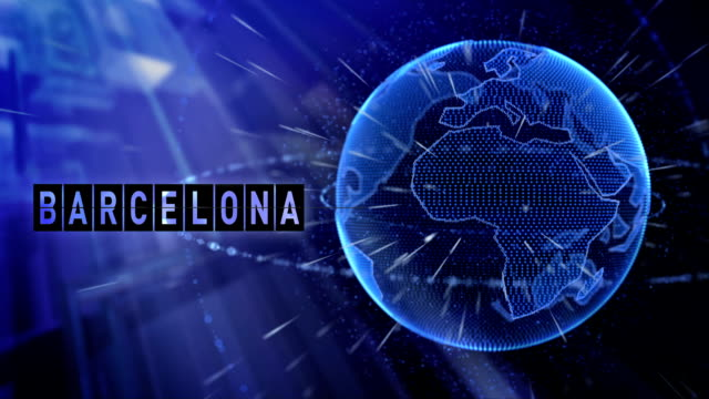 animated planet earth with the title Barcelona city video