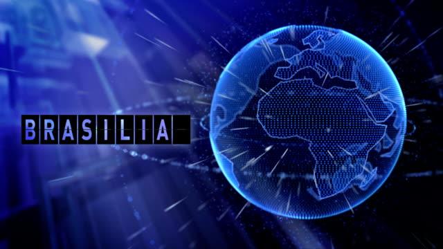 animação do planeta Terra com a cidade de Brasília de título - vídeo