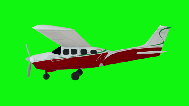 Animated propeller airplane. Old white plane. Realistic physics animation. Green screen footage