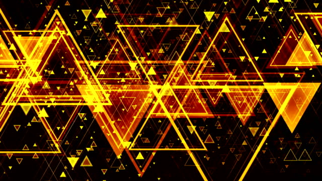 Animated pulsating appearance of colored geometric shapes of different sizes. Looped