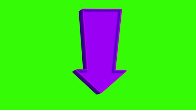 animated purple arrow pointing down on a green screen - scendere video stock e b–roll