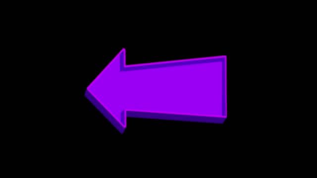 Animated purple arrow pointing left on a black background