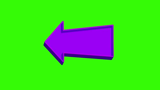Animated purple arrow pointing left on a green screen