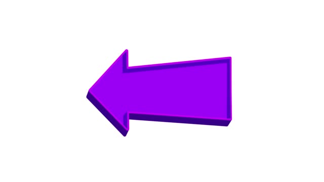 Animated purple arrow pointing left on a white background
