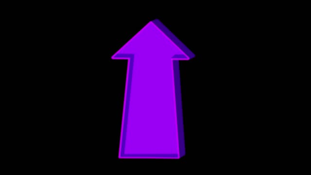 Animated purple arrow pointing up on a black background