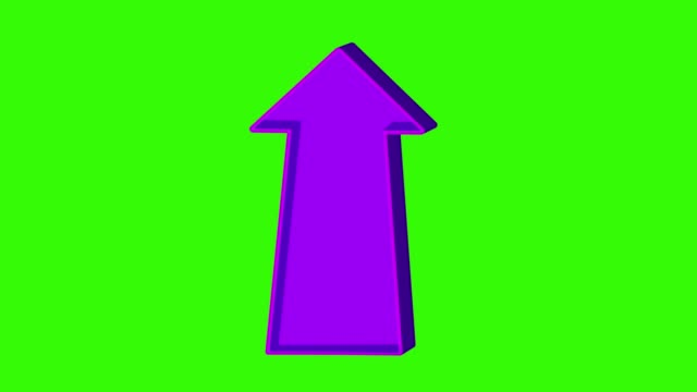 Animated purple arrow pointing up on a green screen