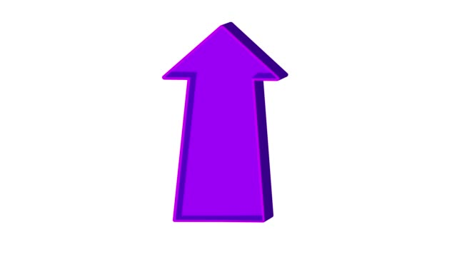 Animated purple arrow pointing up on a white background