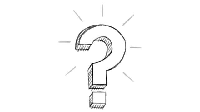 animated question mark, white chalk section, ideal for compositing, use as a mask, ideal footage to represent the idea concept