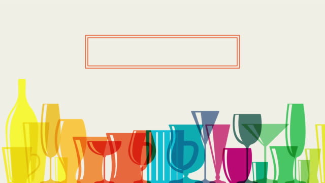 Animated Rainbow coloured cocktail glasses Animated Rainbow coloured cocktail glasses with placard for text kitchen utensil stock videos & royalty-free footage