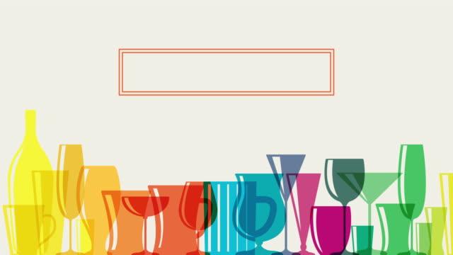 vídeos de stock e filmes b-roll de animated rainbow coloured cocktail glasses - utensílio
