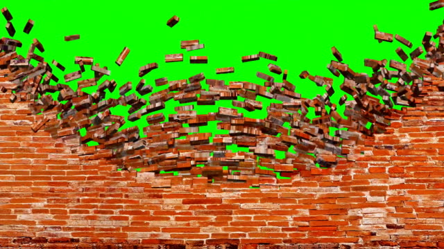 animated red brick wall broken exploding reveal on green screen background