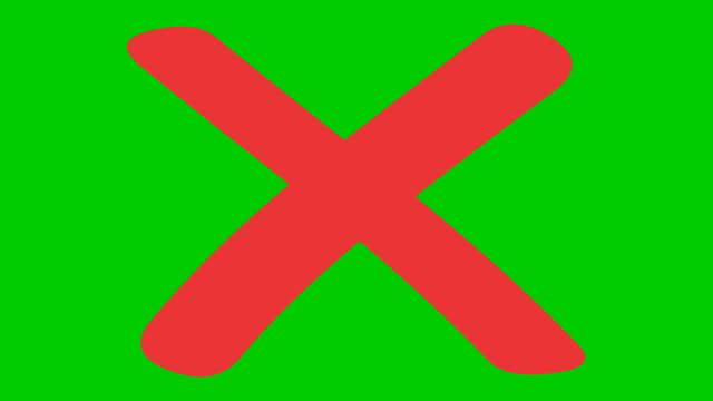 animiertes rotes kreuz wird angezeigt. begriff des verbots. flache vektor-illustration isoliert auf grünem hintergrund. - rot stock-videos und b-roll-filmmaterial