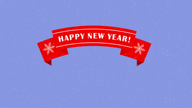 Animated red ribbon with a Happy New Year text Animated red ribbon with a Happy New Year text. 2D graphics, Motion design and cartoon. Elements for video congratulations. web banner stock videos & royalty-free footage