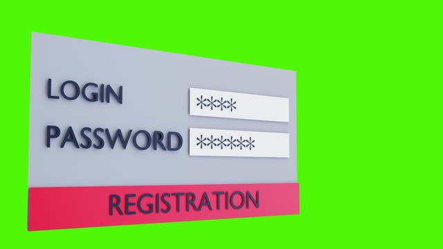 animated registration window on a green background video