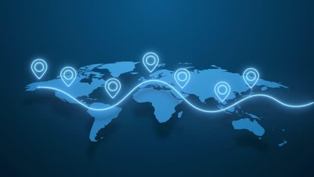 dünya çapında animasyonlu rota. pinler dünyanın mavi haritasında görünür. dünya gezegeninin farklı yerleri iletişim ve seyahat in bir çizgi kavramı ile bağlı. - coğrafi konum stok videoları ve detay görüntü çekimi