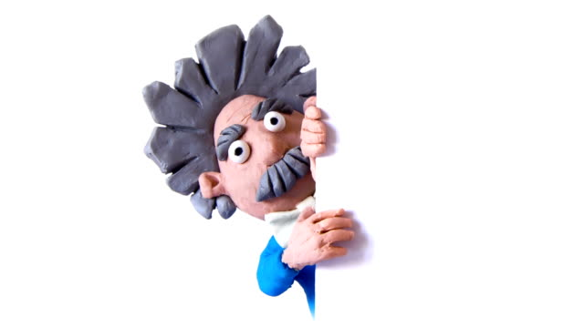 Animated scientist with a white panel. Stop motion video