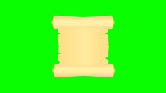 animierte scroll rollt und isoliert auf einem grünen bildschirm - schriftrolle stock-videos und b-roll-filmmaterial