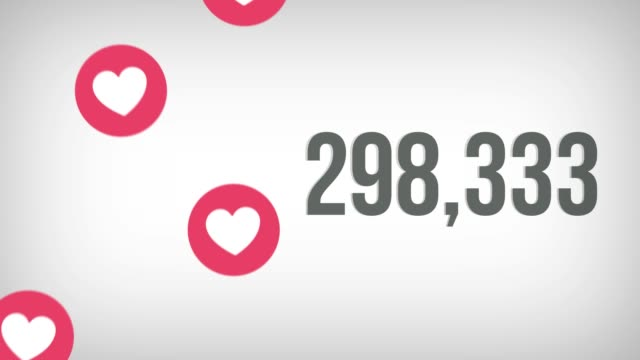 Animated shot of 1,000,000 likes being counted with thumping hearts on a social media page. 4K video Animated shot of 1,000,000 likes being counted with thumping hearts on a social media page. 4K video. bank counter stock videos & royalty-free footage