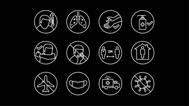 Animated simple line art icons for Covid-19 disease symptoms and preventions on black background A set of simple animated line art icons for Coronavirus (2019-nCoV) disease symptoms and preventions on black background. covid icon stock videos & royalty-free footage