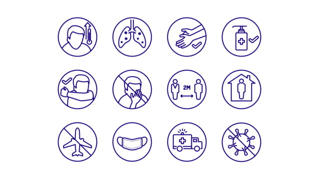 Animated simple line art icons for Covid-19 disease symptoms and preventions A set of simple animated line art icons for Coronavirus (2019-nCoV) disease symptoms and preventions on white and chroma key background. covid icon stock videos & royalty-free footage